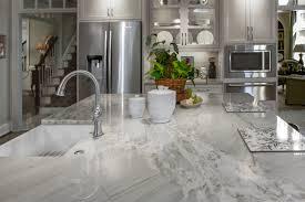 kitchen island with nuage quartzite top