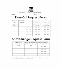 Shift Change Template Free Time Off Request Form Template Shift