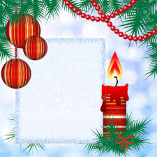 Blank Christmas Background Square Christmas Background With Candles And Blank Stock Photo