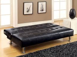 Bulle Black Leatherette Futon Sofa Bed w/ Side Pockets