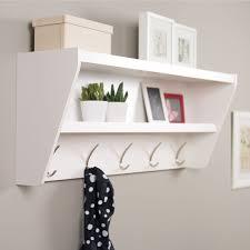 prepac floating entryway shelf  coat rack  white  entryway