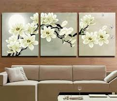 home wall art 3 piece pictures set handmade floral paintings hand painted abstract white magnolia on white magnolia wall art with home wall art 3 piece pictures set handmade floral paintings hand