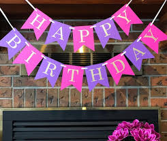 Purple Happy Birthday Banner Pink Purple Birthday 1st Birthday Banner Princess Birthday Purple