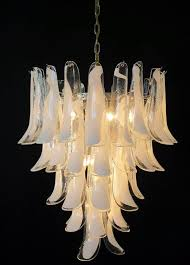 huge italian vintage murano chandelier made by 52 glass petals transpa and white lattimo