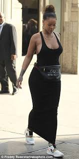 gucci fanny pack. finishing touches: hugging her hourglass figure from head to toe, rihanna then made gucci fanny pack