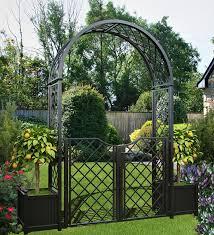 portofino garden arch with planters and