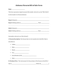 Sample Bill Of Sale Form With Gun Purchase Form Michigan Virginia