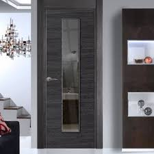 office doors interior. Eco Colour Grigio Ash Grey Flush Door With Clear Safety Glass Is Pre-finished - Office Doors Interior E