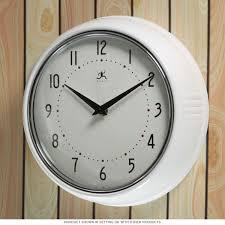 White Kitchen Wall Clocks White Fifties Style Kitchen Wall Clock Metals Clock And Glasses