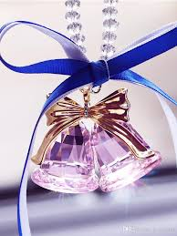 bling fashion pink clear chagne crystal couple bell bling gl orament kids gift home decoration dec431 large ornaments