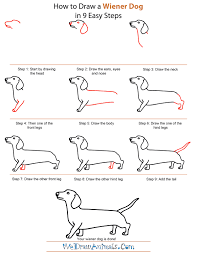easy dog drawing tutorial. Interesting Drawing How To Draw A Wiener Dog  StepbyStep Tutorial And Easy Drawing U