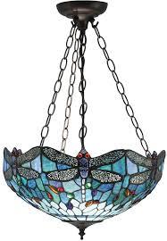 blue dragonfly medium 3 light tiffany uplighter pendant