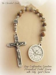 boy s personalized catholic confirmation gemstone pocket rosary with holy spirit charm