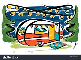 Retro Camper Party Lights Illustration Retro Camper Forest String Lights Stock Vector
