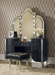 Aico Hollywood Swank Upholstered Vanity & Mirror-Black Iguana in ...