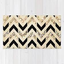 black and cream rug. Black \u0026 Gold Glitter Herringbone Chevron On Nude Cream Rug And