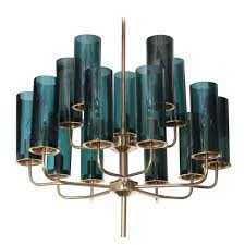 brass blue glass chandelier by hans agne jakobsson for