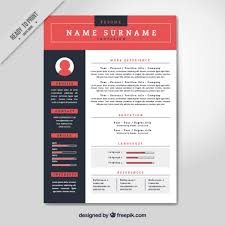 Red resume template Free Vector