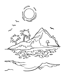 Small Picture Sunset In An Island Coloring Page Kids Coloring Page Coloring Home
