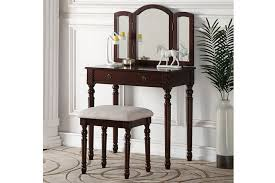 3 Pc Espresso Finish Wood Make Up Bedroom Vanity Set With Turned Legs Stool  And Tri