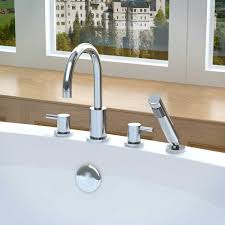 anzzi lien series 2 handle lever roman bathtub faucet with shower wand in polished chrome