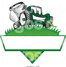 lawn mower logo. royalty free cartoon vector logo of a green lawn mower mascot on grass with blank label