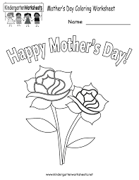 Kindergarten Mother S Day Coloring Worksheet