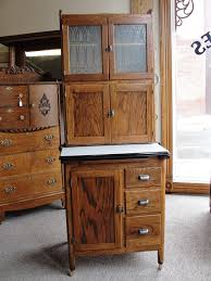 Vintage Oak Hoosier Style Kitchen Cabinet With Etched Glass In The
