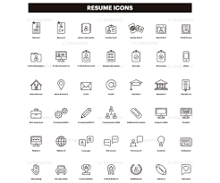Resume Icons Cv Clip Art Curriculum Clipart Set Of Icons Line
