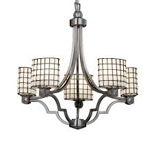 wire glass argyle 5 light chandelier shade pattern grid with clear bubbles finish brushed