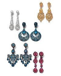 jose maria barrera metal blue crystal chandelier clip on earrings woman