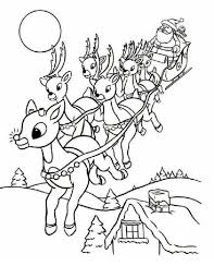 Rudolph And Santa Leigh Reindeers Coloring Page Animal Coloring