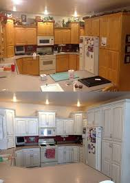 snow white and van brown kitchen cabinets