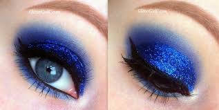 blue glittery prom makeup