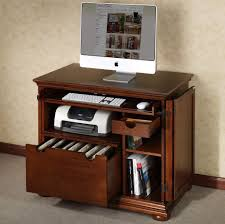 Furniture: Veneered Wooden Small Computer Desk With File Drawers And  Organization - Small Black Computer