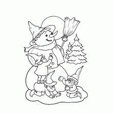 Kleurplaat Sneeuwpop Kerstman