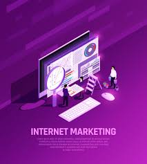 marketing concept isometric glow composition with conceptual images of desktop computer elements magnifying glass and people