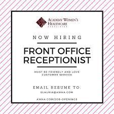front office receptionist job colorado springs