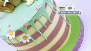 Stripy Buttercream Cake Tutorial With Chocolate Drips Great Cake