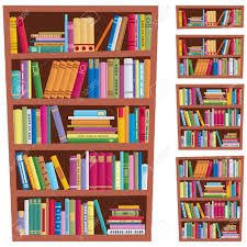 cartoon ilration of a bookshelf in 5 diffe versions stock vector 10045976