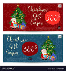 Christmas Gift Coupon Christmas Gift Voucher With Prepaid Sum Template Vector Image On Vectorstock