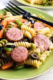 smoked sausage pasta salad a simple and savory pasta salad made with hillshire farm smoked