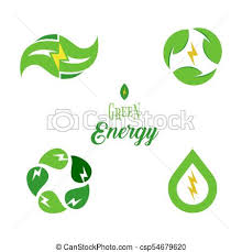 Eco Energy Symbol Template Logo Set Green Power Signs Collection Isolated Electricity Icons Design
