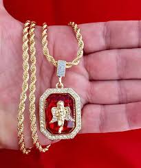 14k gold gp angel red ruby pendant w rope chain necklace