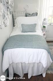 blue silver metallic white frill designer dorm bedding set