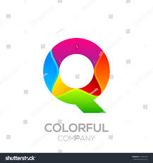 Letter Q logotype made of stripes with Glossy colorful and gradient, Rainbow  Vibrant Colors for