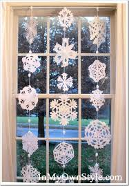 no sew paper snowflakes window curtain the best diy winter home decorations