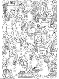 Small Picture Adorable Snowman Coloring Collage Winter Theme Snowmen