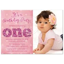 1st Birthday Party Invitation Template Ist Birthday Party Photo Invitations Sparkle One In 2019