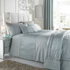 stylish contemporary faux silk duvet set sahara duck egg blue king